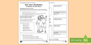 New Years Resolutions Activity Sheet English/Spanish - EAL, Amazing Fact Of The Day, activity sheets, powerpoint, starter, morning activity, December, new