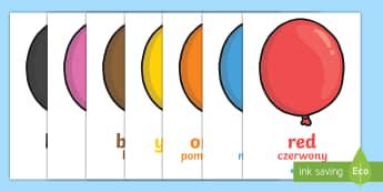Colour Word Balloons - English/ Polish - Colour Word Balloons - colour baloons, colour, colouring, colour mixing, black, white, red, green, b