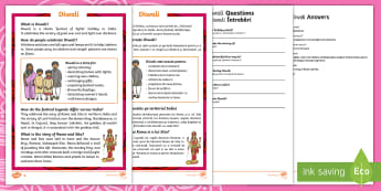 KS1 Diwali Reading Comprehension Activity English/Romanian - Diwali, Hindu, Hinduism, festival, light, rama, sita, ravana, reading, facts, information, comprehen