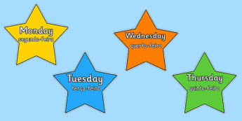 Multicoloured Stars Days of the Week Portuguese Translation - portuguese, days, week, stars