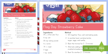 Flag Day Strawberry Cake Recipe - Flag Day, strawberries, blueberries, cream cheese, US flag, stars and stripes
