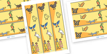 Handa's Hen Display Border - Handa's Hen, Eileen Browne, Africa, African culture, African animals, counting, Mondi, sunbirds, bullfrogs, spoonbills, story, story book, story book resources, story sequencing, story resources, Display border, classroom