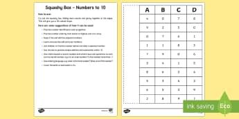 Squashy Boxes Numbers to 10 Craft - squashy box, squashy boxes, squashy, box, boxes, numbers, number, numbers to 10, craft, activity, maths, mathematics
