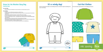 Dress for the Weather Busy Bag Resource Pack for Parents - dressing, clothes, self care, weather, hot, cold, temperature, dressed