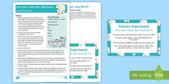 EYFS How does a Bear Stay Warm?  Science Experiment and Prompt Card Pack - polar, bear, insulation, cold, experiment, investigation, science, arctic, poles
