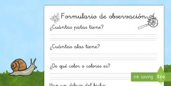 Formulario de observación: El laboratorio de los bichos (juego de rol) - juego, jugar, juego simbólico, ciencia, científicos, investigación, insectos,Spanish