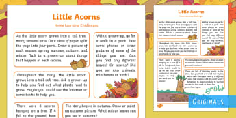 Little Acorns Home Learning Challenges Reception FS2 - EYFS, Little Acorns, Twinkl Originals, Twinkl Fiction, Autumn, Seasons, Plants and Growth, Growing,