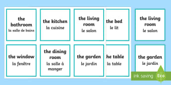 Parts of a House Matching Cards English/French - Dining table, sofa, bath, Game, EAL French,Scottish-translation