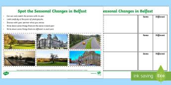 Spot the Seasonal Changes in Belfast Writing Activity Sheet