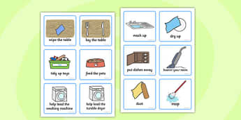 SEN Communication Cards Household Chores (Boy) - SEN, communication cards, job, jobs, home, my environment, Visual Timetable, SEN, Daily Timetable, boys, School Day, Daily Activities, Daily Routine KS1