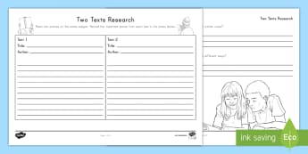 Two Texts Research Activity Sheet - informational, nonfiction, note taking, graphic organizer, comparing texts, worksheet