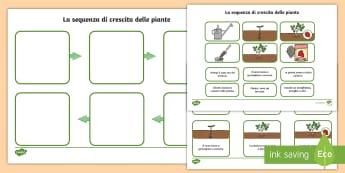 La sequenza della crescita delle piante Attività - natura, piante, naturale, scienze, lezione, italiano, italian, materiale, scolastico