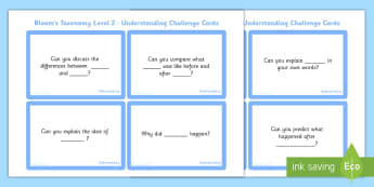 Bloom's Taxonomy Second Level Understanding Challenge Cards - blooms