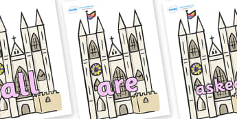 Tricky Words on Churches - Tricky words, DfES Letters and Sounds, Letters and sounds, display, words