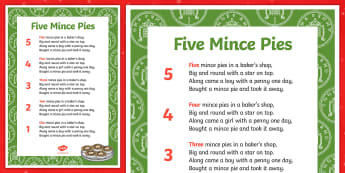 Five Mince Pies Nursery Rhyme Sheet - five mince pies, nursery rhyme, rhyme, rhyming, christmas, food, santa, rhyming sheet