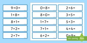 Number Bonds 8 and 9 Sentence Cards - number bonds, 8, 9, cards