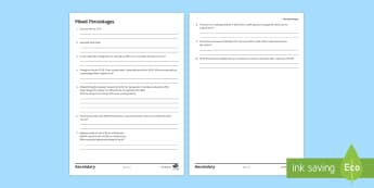 Mixed Percentages Activity Sheet - Increase, worksheet, Decrease, Change, Reverse, Original Value, Express, Quantity