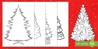 Christmas Tree Outline Display Cut-Outs - template, cutting, colouring page, design, decorations,