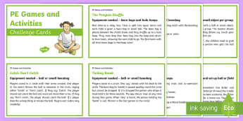 PE Games and Activities Challenge Cards  - CfE Health and Wellbeing Resources, PE, games, physical education, activities, Scottish
