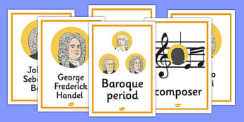 Baroque Period Music Display Posters - baroque, music, display