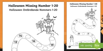 Halloween Spooky House Missing Numbers to 20 Activity Sheet English/Afrikaans - October, celebration, spooky, witch, complete, EAL, worksheet