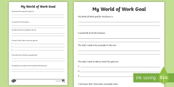 World of Work Goals Writing Worksheet / Activity Sheet - developing the young workforce, jobs, aspirations, targets, hopes and dreams,Scottish
