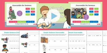 KS1 Simple Sentence Scramble Activity Pack - jumbled up sentences, Basic Sentences, speak and write, say and write, ordering words in a sentence,