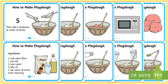 Playdough Recipe A4 Display Posters - Playdough, recipe, display, poster, A4, making playdough, recipe card, how to make playdough