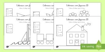 Colorear con números: Figuras 2D - colorear con números, colorear, colores, color, pintar, números, figuras planas, figuras 2D, geome