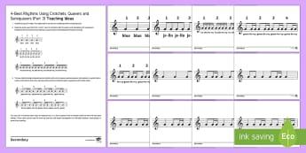 Teaching 4-Beat Rhythms Part 3 Cards - crotchet, quaver, semiquaver, pulse, rhythm, warm-up, practise