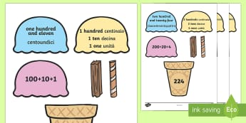 Place Value Ice Cream Matching Activity Hundreds, Tens and Ones English/Italian - Place Value Ice Cream Cone Match Activity Hundreds Tens and Ones, placevalue, plce value, place vlau