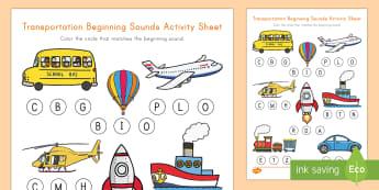 Transportation Beginning Sounds Activity Sheet - transportation, worksheet, letter sounds, reading, movement, center, station