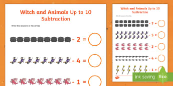 Witch and Animals Subtraction Up to 10 and 20 Sheet - room, broom, subtraction, 10, 20, sheet