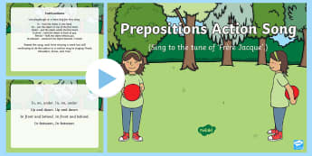 Prepositions Action Song PowerPoint - Singing, Song Time, Position, Prepositions, In, On ,Under, Above, Below, Between