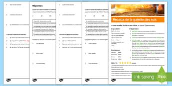 Compréhension écrite : La galette des rois - épiphanie, gâteau, recette, lecture, cycle 2,French