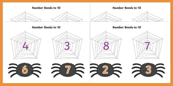 Number Bonds to 10 (on Spiders and Webs) - Number Bonds, Matching Cards, Number Bonds to 10, Halloween, pumpkin , witch, bat, scary, black cat, mummy, grave stone, cauldron, broomstick, haunted house, potion, Hallowe'en