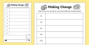 Making Change: 1p, 2p and 5p Activity Sheet - NI KS1 Numeracy, money, value, amount, 1p, 2p, 5p, home learning, homework, worksheet, coins.