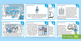 KS1 Jack Frost Short Story Cards - Child led, Assembly Ideas, Jack Frost, Seasons, Winter