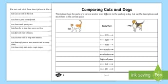 Comparing the Structure of Cats and Dogs Activity Sheet - KS1 Science Curriculum Aims, animal, common, pet, cat, dog, mammal, structure, body, part, feature,