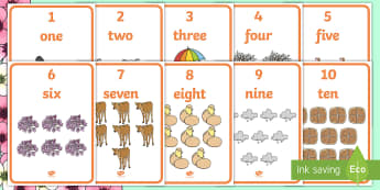 Springtime Themed 1-10 Word and Number Display Posters  - Winter Themed Number Posters with Words & Numbers (1-10) -  Winter, numeracy, counting, number poste