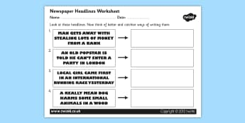 Newspaper Headline Writing Worksheet - newspaper headlines, newspaper headline worksheet, writing newspaper headlines, newspaper, ks2 literacy