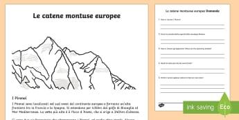 Le Catene Montuose Europee Lettura Comprensiva - catene, montuose, europee, geografie, montagne, monti, appennini, alpi, europa, italiano, italian, l