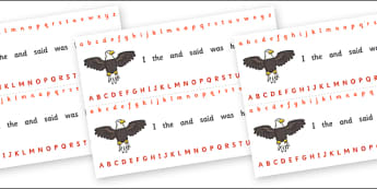 Alphabet Strips (Eagle) - Alphabet, Learning letters, Writing aid, Writing Area, eagle, bird
