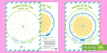 Months of the Year Sequencing Wheel Display Pack English/Polish - Calendar Sequencing, months, year, cycle, sequence, order, date,Polish-translation