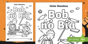 Trick or Treat Colouring Pages Gaeilge - bob nó bia, oíche shamhna, dathúcháín, october, traditions,Irish