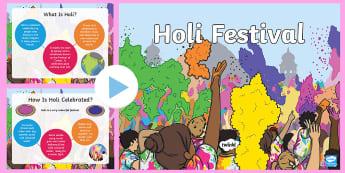 What Is Holi? PowerPoint - hindu, hinduism, krishna, colours, festival, Prahlada, vishnu, paint