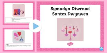 Pŵerbwynt Cyfarwyddiadau Creu Symudyn Diwrnod Santes Dwynwen - santes dwynwen, dydd santes dwynwen, antes dwynwen, llythrennedd ar draws, rhifedd ar draws, Ionawr, crefft, dylunio, technoleg, thechnoleg, creu, cyfarwyddiadau, saint dwynwen