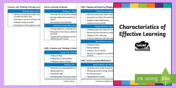 EYFS Characteristics of Effective Learning Tracking Document Booklet - Pocket Sized EYFS Early Years Outcomes Tracking Document - Early, Years, Outcomes, assessment, EYFS