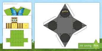 Rhwydi Siâpiau 3D Trychfilod Taflen Weithgaredd - rhwyd, rhwydi, siapau 3d, siapiau 3d, 3D sahpes, 3d shapes.,Welsh