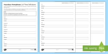 Hazardous Homophones List Three Definitions Activity Sheet - KS3, Spelling, SPAG, Homophone, Homophones, definitions, Examples, language, worksheet